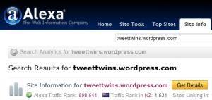Alexa Traffic Tweet Twins Social Media Nov 2010