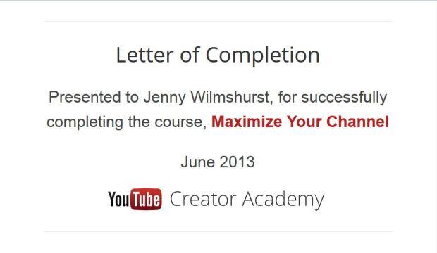 YouTube Academy 2013 Certificate June 2013