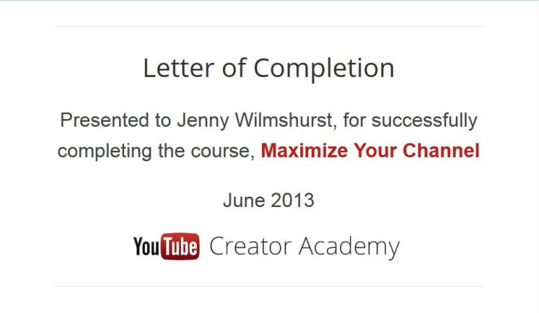 YouTube Academy 2013 Certificate June 2013